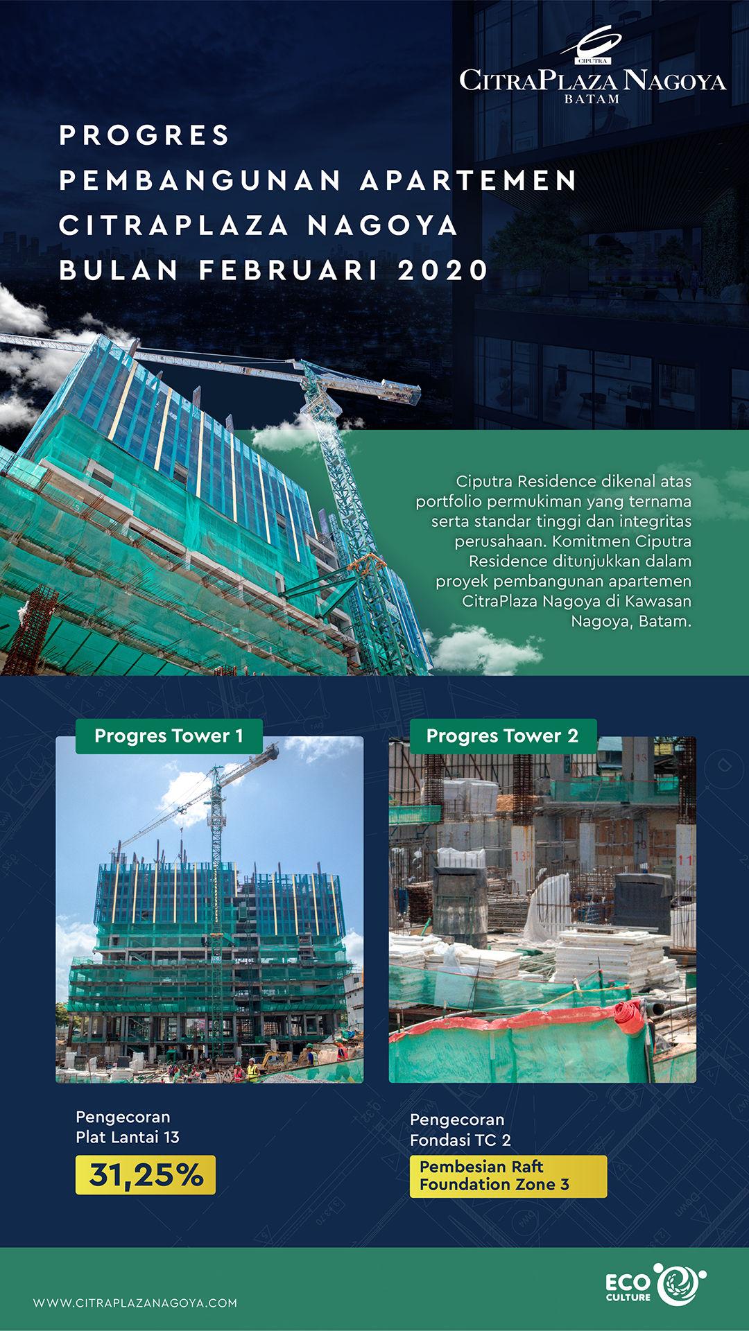 Progres Pembangunan Apartemen CitraPlaza Nagoya Bulan Februari 2020 (Infografik) - CitraPlaza Nagoya